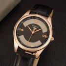 YAZOLE 416 Men Watch Fashion Leather Strap Roman Numbers Dial Quartz Wrist Watch