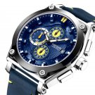 MEGIR 2098 Sports Chronograph Date Waterproof Quartz Watch Leather Strap Men Wrist Watch