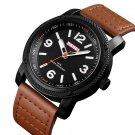 SKMEI 1417 Leather Simple Big Number Business Fashion Men Quartz Watch