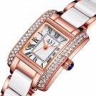 Elegant Ceramic Strap Crystal Case Roman Numerals Dial Women Ladies Dress Quartz Watch