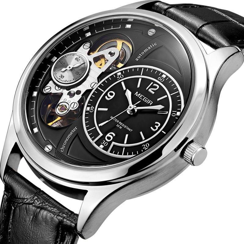 MEGIR 2017 Military Stay Quartz Watches Leather Strap Clock Mechanical Appearance Men Watch