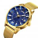 SKMEI 9166 Gold Case Business Style Men Wrist Watch Milan Stainless Steel Quartz Watches