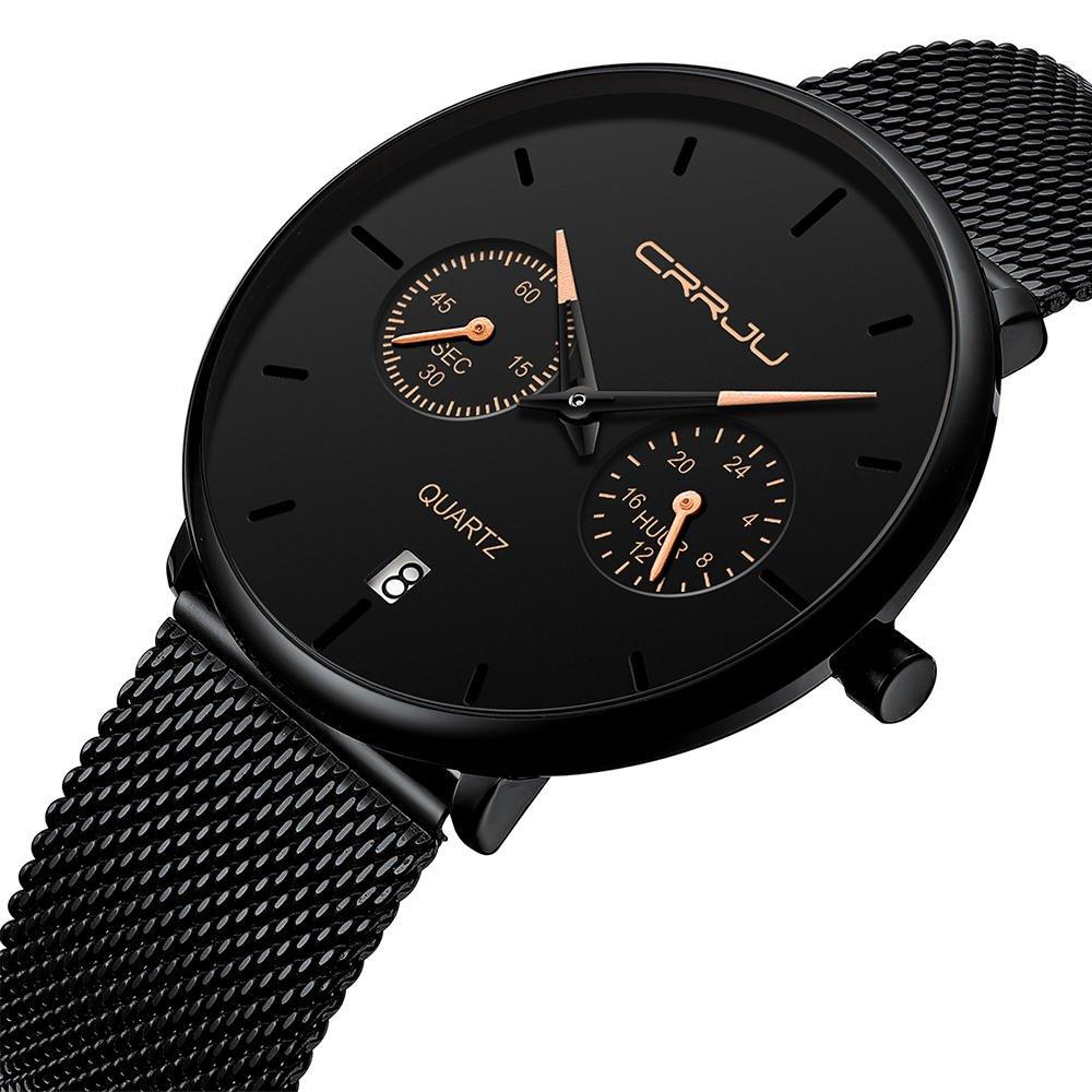CRRJU 2162 Fashion Business Style 24hours Calendar Alloy Case Men Simple Dial Quartz Watch