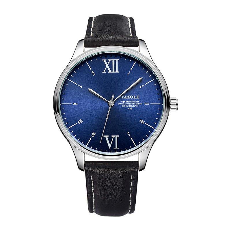 YAZOLE 448 Men Simple Dial Fashion Black Leather Strap Classic Business Quartz Watch