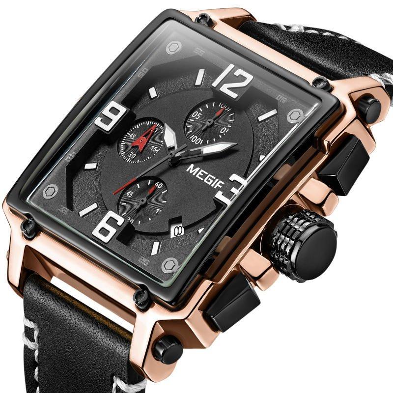 MEGIR 2061 Unique Style Men Wrist Watch Chronograph Date Luminous Number Quartz Watch