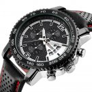 LONGBO 80176 Chronograph Calendar Quartz Watch Waterproof Leather Strap Men Watch