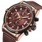MINI FOCUS MF0175G Military Style Luminous Date Leather Strap Men Wrist Watch Quartz Watch