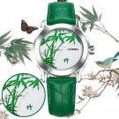 SINOBI 9632 Green Bamboo Women Watches Leather Strap Waterproof Clock Quartz Watch