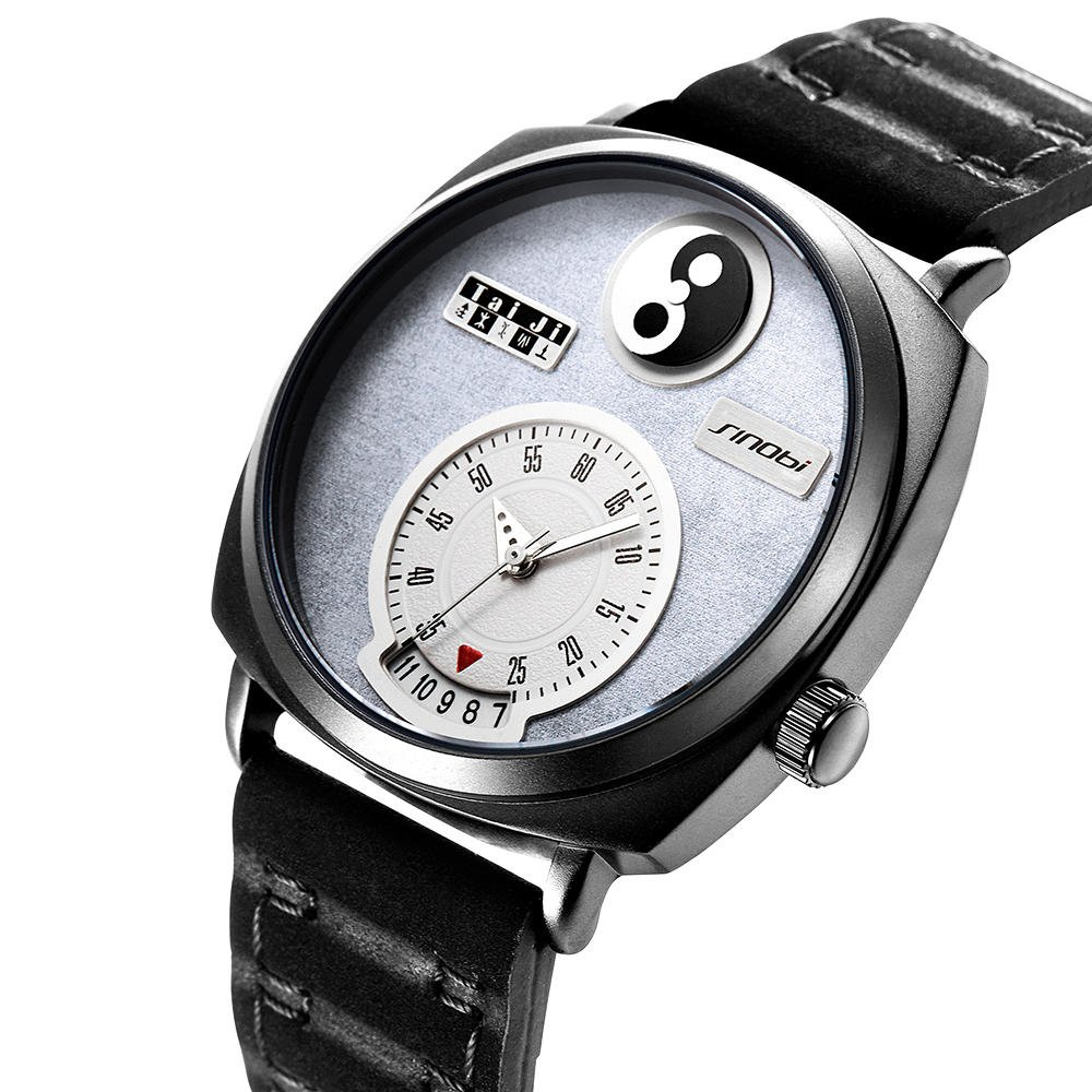 SINOBI 9772 Unique Dial Display Men Wrist Watch Date Display Rectangle Quartz Watches