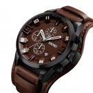 SKMEI 9165 Business Style Date Display Men Wrist Watch Leather Strap Quartz Watches