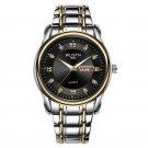 WLISTH Men Full Steel Belt Quartz Watch Business Luminous Waterproof Calendar Casual Wristwatch