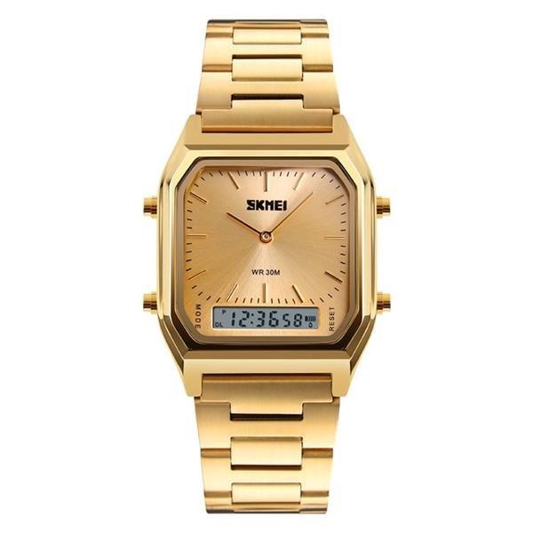 SKMEI 1220 Alloy Case 30M Waterproof Luminous Business Classic Quartz Digital Dual Display Watch
