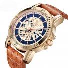 BAGARI 1688 Waterproof Leather Strap Quartz Watch Mechanical Appearance Sport Watch
