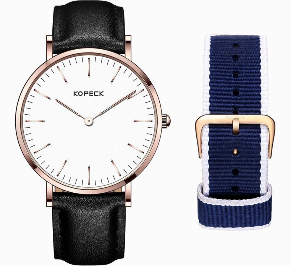 KOPECK GB-6001G Fashionable Watch Casual Style Waterproof Two Watch Bands Quartz Men Watch