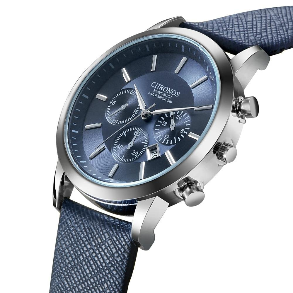 CHRONOS Casual Style Calendar Men Wrist Watch False Small Dials Leather Strap Quartz Watch