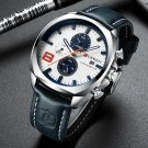 CURREN 8324 Chronometer Casual Style Male Sport Watch Leather Strap Analog Quartz Watch
