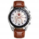 Deffrun Business Style Men Wrist Watch Decorate Three Dials Leather Strap Quartz Watches