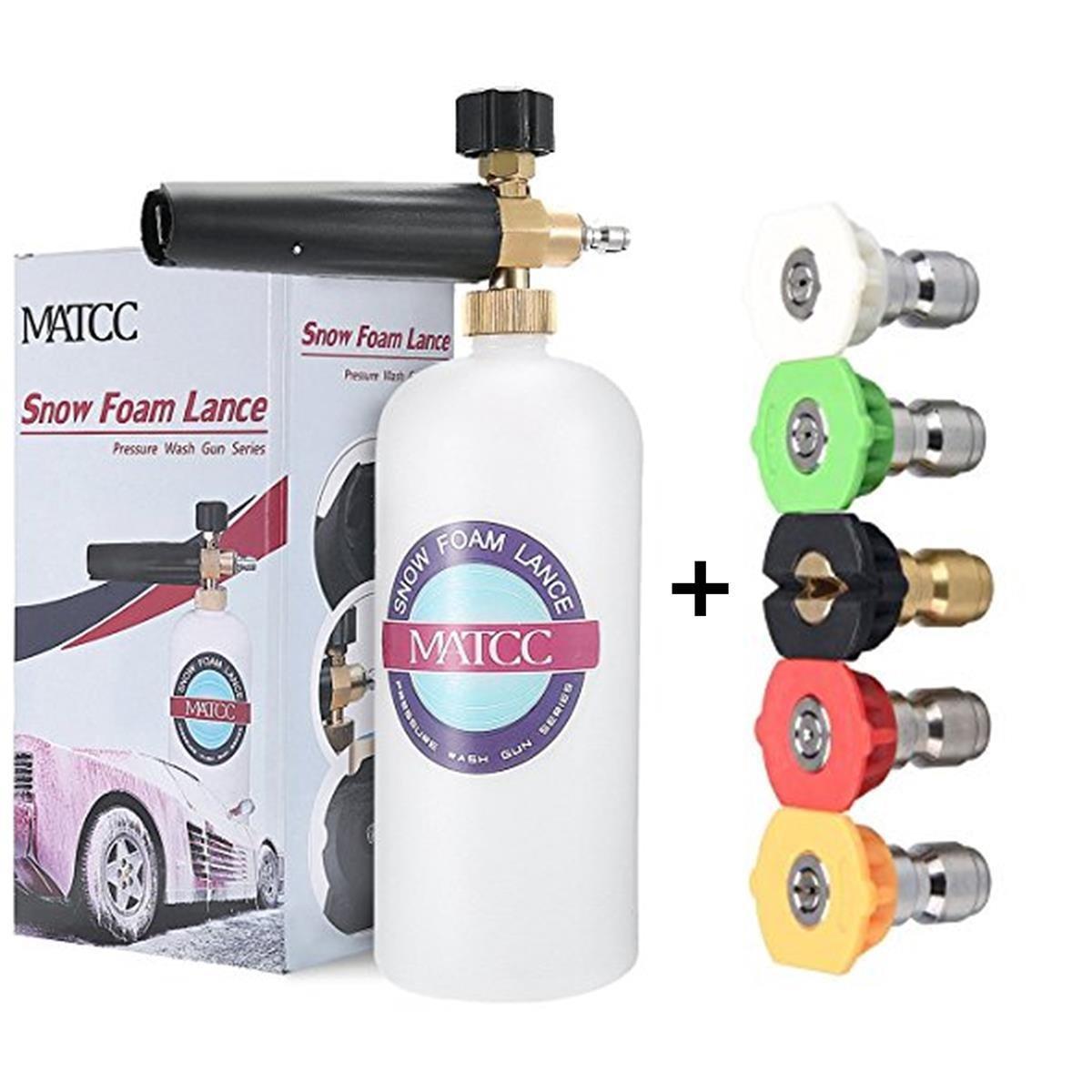 MATCC Adjustable Foam Cannon Bottle Snow Foam Lance with 1/4Inch Quick Connector