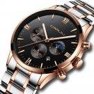 CRRJU 2159 Creative Sun Moon Men Business Style Chrono 316L Stainless Steel Strap Quartz Watch