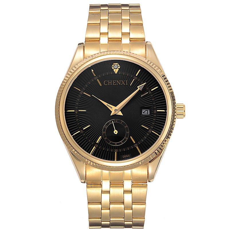 CHENXI 069A Calendar Gold Case Casual Men Watches Stainless Steel Strap Quartz Watch