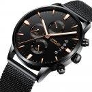 Business Style Black Mesh Belt Men Fashion Full Steel Strap Luminous Display Quartz Watch