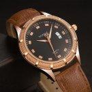 Luminous Hand Quartz Watches Date Display Leather Strap Men Wrist Watch