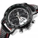 Chronograph Calendar Quartz Watch Waterproof Leather Strap Men Watch