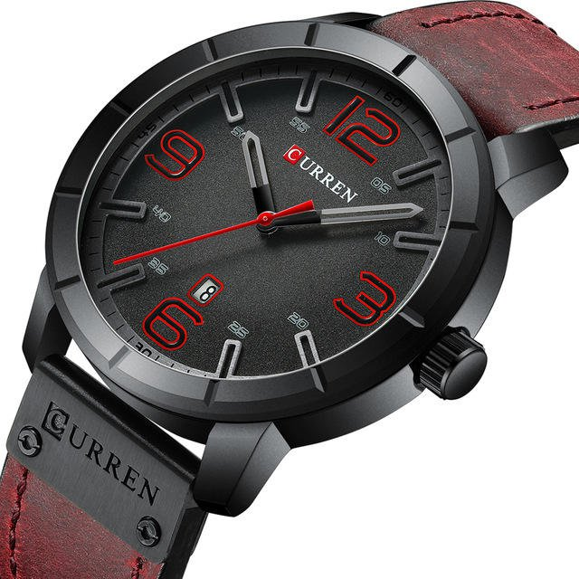 CURREN 8327 Casual Style Date Display Men Wristwatch Leather Band Quartz Watch