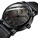 Wolf Dial Display Fashionable Men Wrist Watch Analog Leather Band Quartz Watch