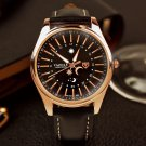 YAZOLE YD368 Sun and Moon 24 Hours Pointer Creative Watch PU Leather Men Watch