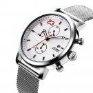 SINOBI 9765 Chronograph Casual Style Men Wrist Watch Mesh Steel Strap Quartz Watches