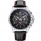 Men Watch Alloy Case Leather Strap Lumious Male Sport Casual Quartz Wrist Watch