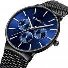 Men Sapphire Blue Three Small Dial Calendar Fashion Steel Strap Casual Quartz Watch