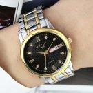 FEDYLON Men Fashion Style Full Steel Week Day Display Crystal Dial Quartz Watch