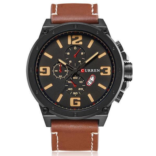 CURREN 8230 Large Number Display Men Quartz Watch Leather Strap Sport Watch