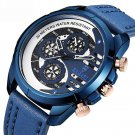 BAGARI 1802 Casual Style Fake Three Dials Quartz Watch Leather Strap Men Watches