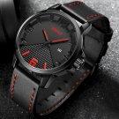 BREAK 3301 Casual Style Waterproof Men Wrist Watch Leather Strap Date Display Quartz Watch