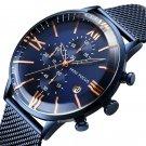 Business Chronograph Calendar Mesh Steel Quartz Watch Men Wristwatch