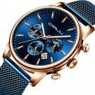 CRRJU 2266 Fashion Full Steel Mesh Calendar Chronograph 24hours Men Quartz Watch