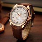 YAZOLE 325 Men Crystal Rose Gold Case Leather Band Luminous Display Quartz Watch