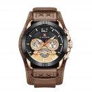 NAVIFORCE 9162 Date Display Men Wrist Watch Genuine Leather Strap Quartz Watch