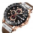 MEGIR 2081 Chronograph Luminous Quartz Watch Waterproof Leather Timing Men Watch