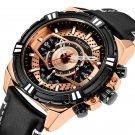Sports Style Complete Calendar Chronograph Waterproof Leather Quartz Watch Men Wristwatch