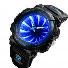 Creative Mirror Dial LED Backlight 5ATM Stainless Steel Men Wristwatch Quartz Watch