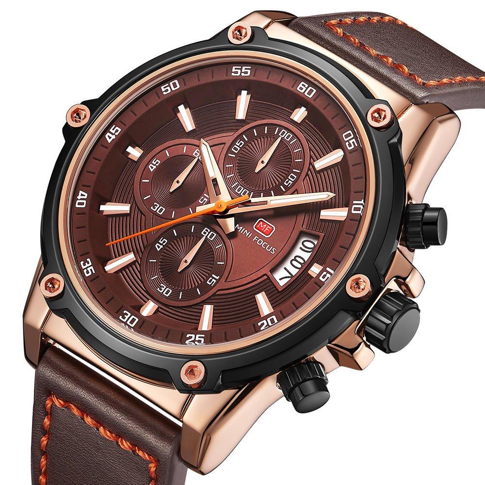 Military Style Luminous Date Leather Strap Men Wrist Watch Quartz Watch
