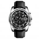 SKMEI 9156 Sport Watch Chronograph Leather Strap Waterproof Men Quartz Wrist Watch