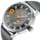 Military Style Calendar Color Dial Men Wrist Watch Leather Strap Quartz Watch