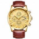 Quartz Watch Multifunction Chronograph Sport Watch Men Leather Strap Watch