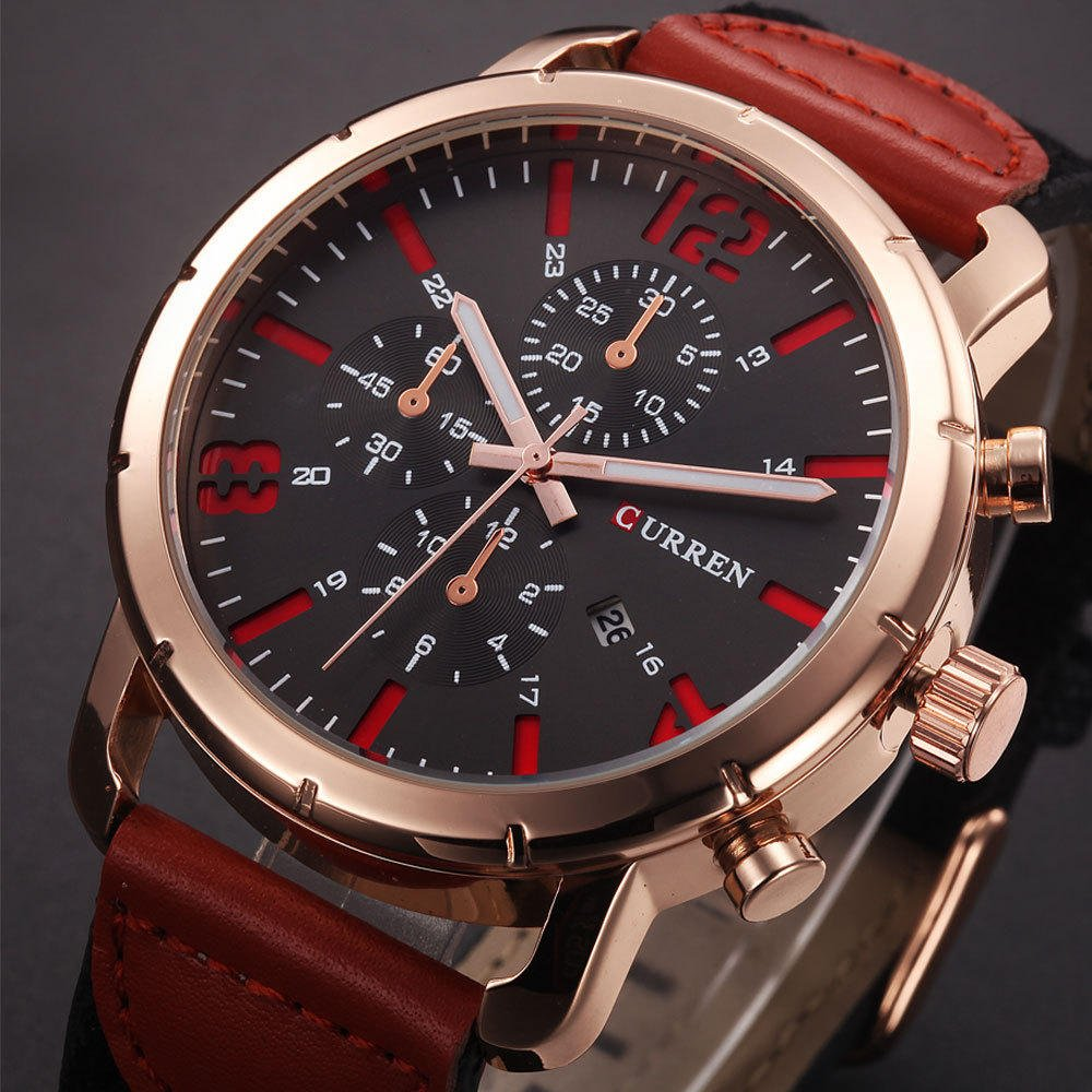 CURREN 8194 Date Display Casual Style Men Wrist Watch Leather Strap Analog Quartz Watch