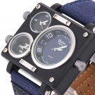 Men Watch Fashion Three Time Zones Alloy Case Textile Watch Band Quartz Watch